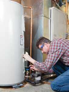 a technician works on a boiler installation in bergen county