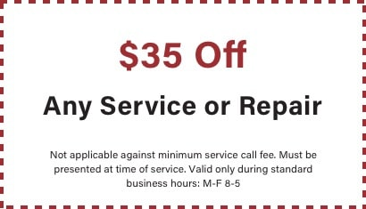 coupon for $35 off any service or repair with BZ Dependable Plumbing and Heating