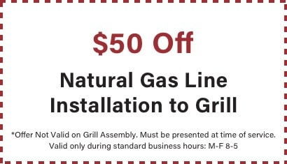 coupon for $50 off natural gas line to grill