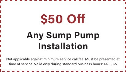 coupon for $50 off sump pump installation
